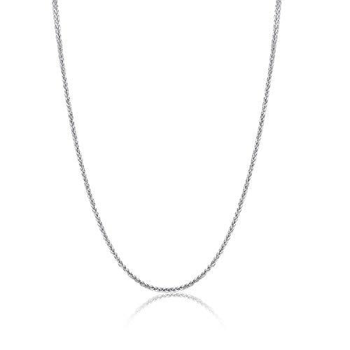 14 Karat 585 Gold Diamantschliff Spiga Weizen Weißgold Kette – Breite 1 mm