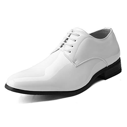Bruno Marc Ceremony-06 Zapatos de Cordones Vestir Oxford para Hombre Blanco 42.5 EU/9.5 US