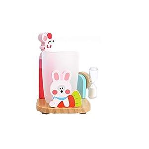 TrifyCore Entzückende Zahnpasta Zahnbürstenhalter Stand mit Cup und 3 Minuten Sandborduhr Saugfuß aus Holz Badezimmer Aufsatz- Halter für Kinder Multicolor-Kaninchen-Art 1PC