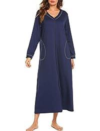 Doneto Morgenmantel Damen Baumwolle Nachthemd Langarm Nachtwäsche Bademantel Hausmantel Reissverschluss V Ausschnitt Langes mit Taschen
