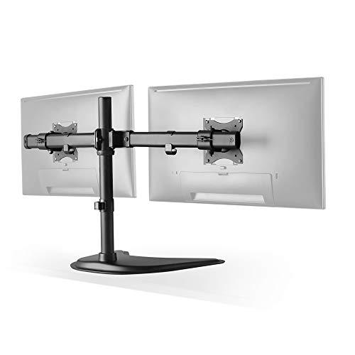 RICOO Universal Monitor Halterung 2 Bildschirme TS8211 Schwenkbar Neigbar Dual Monitorhalterung Tischhalterung LCD LED TFT Curved 4K Bildschirmhalterung VESA 75x75 100x100 33-69cm 13-27 Zoll Schwarz -