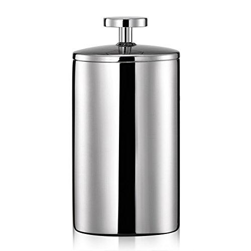 Uong Manuelle Milchaufschäumer, 200ML Edelstahl Double Mesh Pumpe Milch Kaffeeaufschäumer Milch Milchkännchen Milchschaum (Silber)