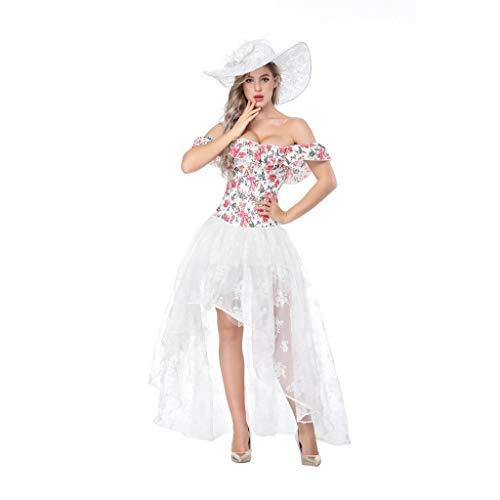 Belted Kostüm Lace - SOFYEE Damen Korsett aus Leder, sexy Gothic-Stil, Schnürung - weiß - Etikett XL - Taille : 28/31