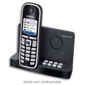 Gigaset Communications GmbH Siemens Gigaset C470 Schnurloses DECT-Telefon mit großem beleuchtetem Farbdisplay, polarweiß