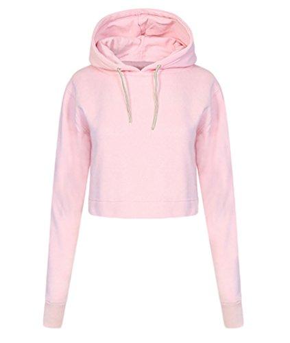 YouPue Donne Breve Felpa Con Cappuccio Manica Lunga Pullover Hoodies Camicia Tops Sweatshirt Autunno Inverno Ragazze Rosa S