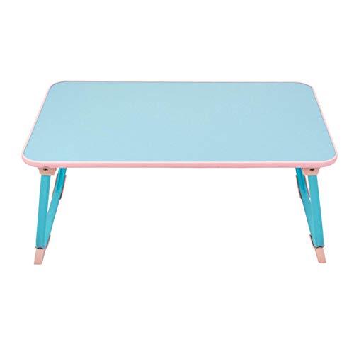 ZZWBOX Schlafzimmer Laptop-Schreibtisch Bett mit Faltbarer Tablette Lazy College Dormitory Study Desk Kleiner Tisch Praktische und praktische Aufbewahrung,Blue -