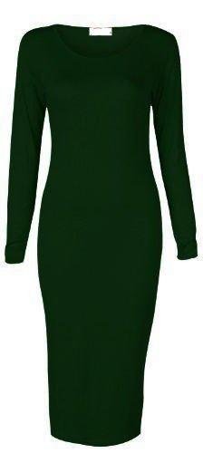 Pull robe midi manches longues élastique pour femmes Bodycon taille 6–26 Vert - Vert