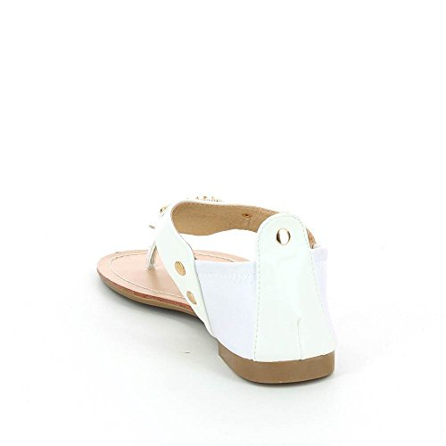 Sandales plates a décorations métallisées Blanc