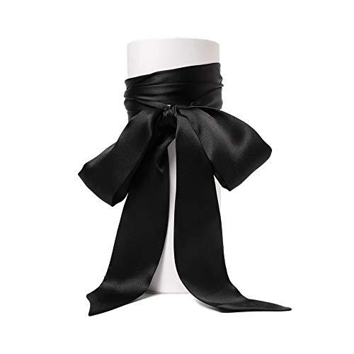 SWECOMZE Satin-Schärpe Gürtel Damen Hochzeit Bogen Band Schal Krawatte (Schwarz) - Schwarze Krawatte Kleid