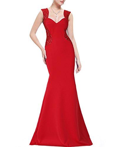 KAXIDY Donna Maxi Vestito Lunghe Elegante Senza Maniche Vestiti da Sera Vestito Cerimonia Rosso