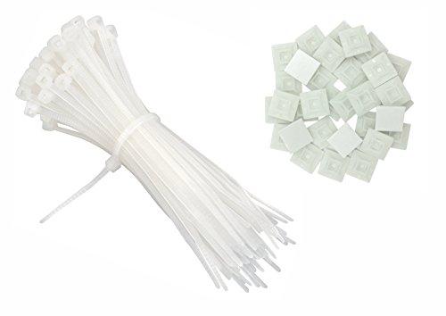 Intervisio Bridas Plastico Cables 200mm x 2,5mm, Blanco
