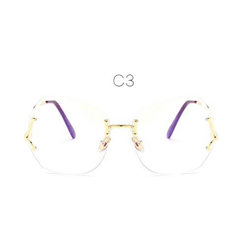 ZHENCHENYZ Männer einzigartige übergroße randlose Sonnenbrille Frauen ursprüngliche Designer-Steigungs-Weinlese-Brillen weibliches UV400 -
