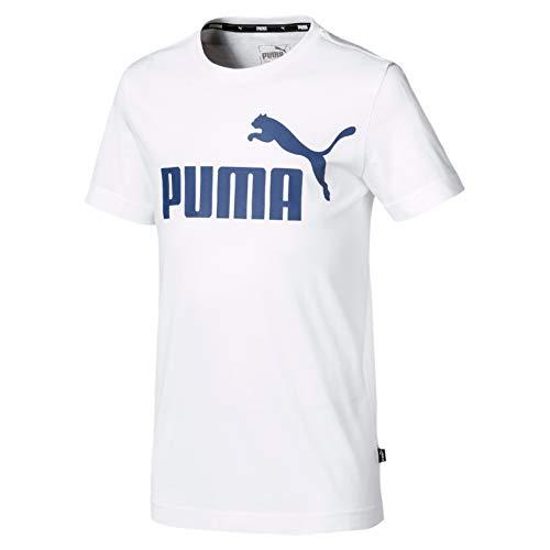 PUMA Jungen ESS Logo B T-shirt ESS Logo Tee B-852542, Puma White/Galaxy Blue, 164 (Herstellergröße: 14 ans)