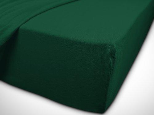 npluseins klassisches Jersey Spannbetttuch - erhältlich in 34 modernen Farben und 6 verschiedenen Größen - 100% Baumwolle, 90-100 x 200 cm, dunkelgrün - 7