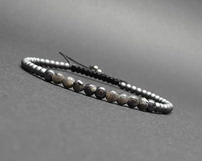 Bracelet fin, pierres gemmes, labradorite noire et hématite grise et mate Ø 3 mm