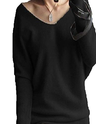 Spring Autumn Cashmere Sweaters Women V Neck Sweater Loose Sweater Batwing Sleeve Pullover,Black,M - Cashmere Deep V-neck Sweater