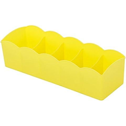 Caja de almacenamiento Underwear underwear socks caja de almacenamiento de plástico caso escritorio cuadros de clasificación y el cajón de caja de almacenamiento 26x9x7cm,amarillo