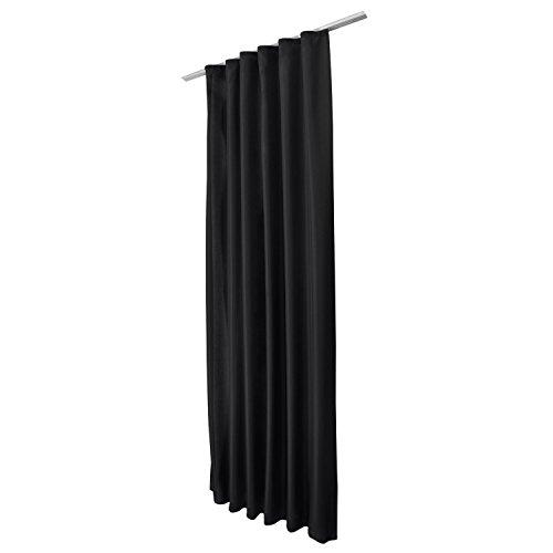 Beautissu Blickdichter Kräuselband-Vorhang Amelie – 140×245 cm Schwarz – Dekorative Gardine Universalband Fenster-Schal - 4