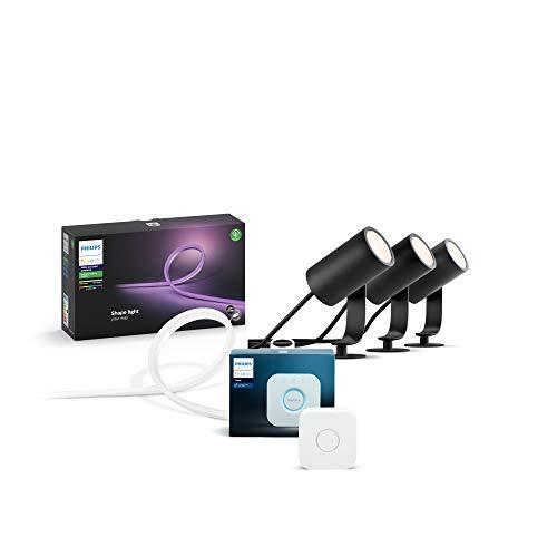Philips Hue Outdoor Starter Set (inkl. 3er Lily Basis Set, 1 x 5 Meter Outdoor Lightstrip & Philips Hue Bridge), steuerbar via App, kompatibel mit Amazon Alexa (Echo, Echo Dot)