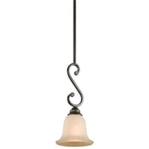 Kichler Lighting 43230OZ Camerena 1-Light Mini-Pendant, Old Bronze Finish with White Scavo with Light Umber Inside Tint Glass by Kichler Lighting