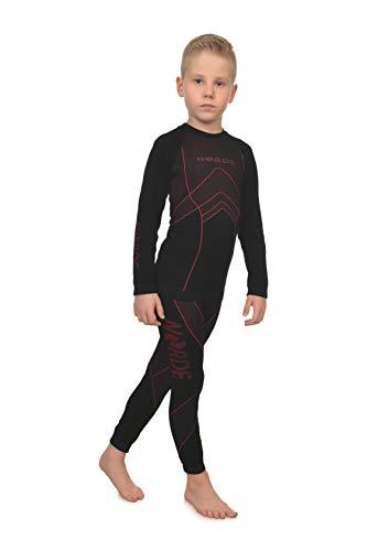 Freenord NORDE THERMOTECH Kinder Sport Thermoaktiv Atmungsaktiv Funktionswäsche (Hemd + Hose) Set (Rot, 122/128)