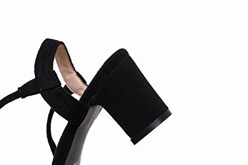 Mee Shoes Damen chunky heels mit Schnürung open toe Sandalen Schwarz