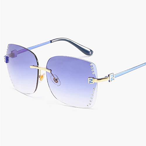 GUOTAIEUP Sonnenbrillen Neue Frauen Sonnenbrille Mode Hohe Qualität Gradienten Frauen Randlose Sonnenbrille Weibliche Marke Spiegel Uv4003-Blau-Blau