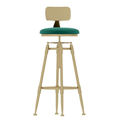 Barhocker Gepolstert Metallrahmen Mit Rückenlehne drehbar anheben Kneipenhocker Stuhl für Theke/Café/Küche/Frühstück - Grünes Kissen -