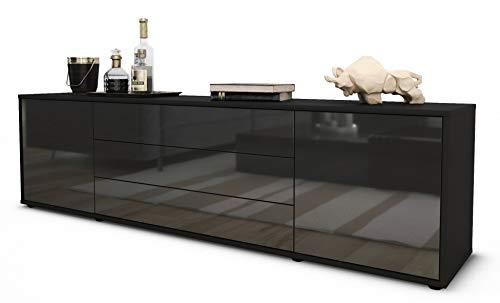 Stil.Zeit TV Schrank Lowboard Ariella, Korpus in Anthrazit Matt/Front im Hochglanz-Design Grau Graphit (180x49x35cm), mit Push-to-Open Technik und Hochwertigen Leichtlaufschienen, Made in Germany