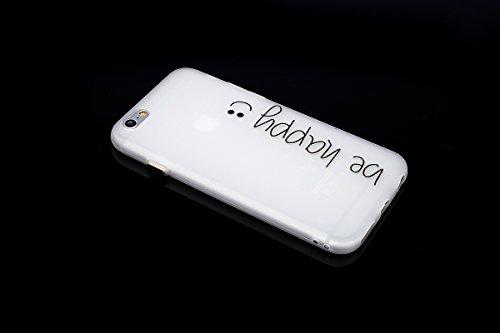 iPhone 6 Custodia, iPhone 6S Case Cover, ISAKEN Agganciabile Luminosa Case Cover con LED Lampeggiante per Apple iPhone 6/6S, Ultra Slim Sottile TPU Gel Silicone Protettivo Skin Custodia Protettiva She Be Happy