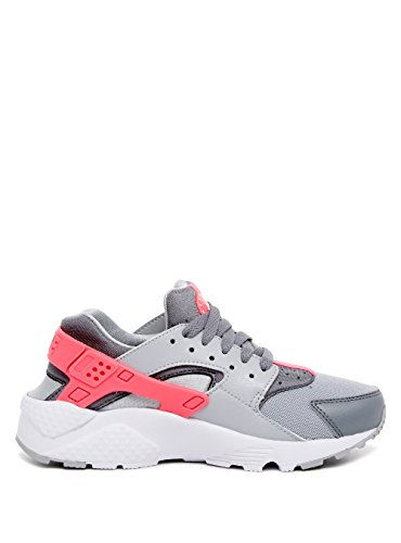 Nike Mädchen Huarache Run (GS) Laufschuhe, Schwarz / Pink Gris / Blanco / Rosa (Wlf Grey / White-Cl Gry-Hypr Pnk)