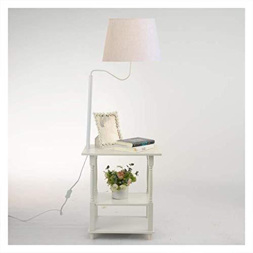 Beleuchtung Stehlampe Europäischen Holz Wohnzimmer Schlafzimmer Mit Tisch Vertikale Stehlampe Schwarz 12 Watt Warmes Licht (Farbe: Weiß), Weiß (Tray 12 Paint)