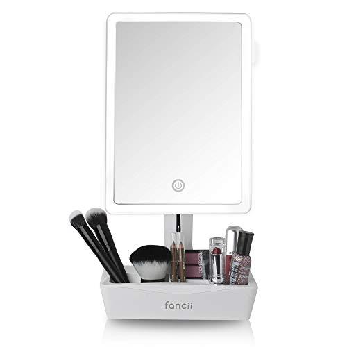 Fancii Espejo de Maquillaje con Luz Grande, Aumento de 1x y 10x - Espejo Sobremesa Ajustable con Pantalla...