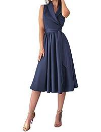 UJUNAOR Vestito Donna Senza Spalline Abito Donna Eleganti da Cerimonia Abito  Donna Sexy Taglia S- adee898d564