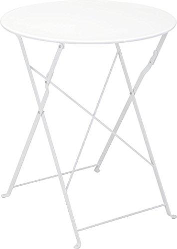 Metall Bistrotisch Ø 60 cm in weiß - Platz sparend zusammenklappbarer Gartentisch / Beistelltisch
