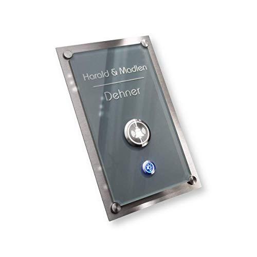 Design Türklingel Edelstahl – Acrylglas-platte in Anthrazit - Beleuchtung: Lichtschalter & LED-Klingeltaster - Unterputz-Montage