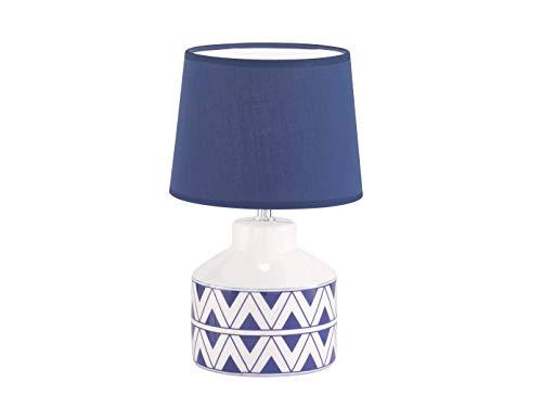 Hübsche Honsel Keramiktischleuchte weiß / blau mit LED, runder Stoffschirm blau 20 cm