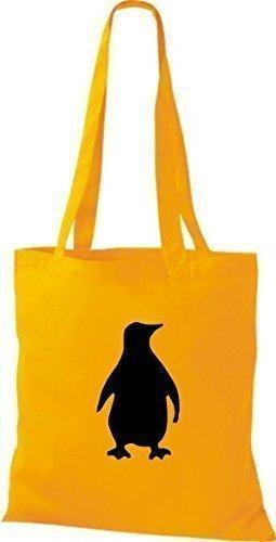 ShirtInStyle Stoffbeutel Pinguin Baumwolltasche Beutel, diverse Farbe yellow