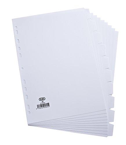 Elba A4 10 Partie 160gm Cartes Intercalaires - Blanc