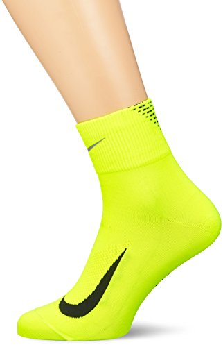 Nike Herren Elite Run Lightweight 2.0 Quarter Socks, Volt/Black/Metallic Silve, 38.5-40.5