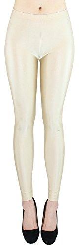 dy_mode Glanz Leggings Damen Bunte Tanz Leggings glänzende Leggins Shiny One Size - JL116 (One Size - geeignet für Gr.36-38, JL116-HellbeigeNude)