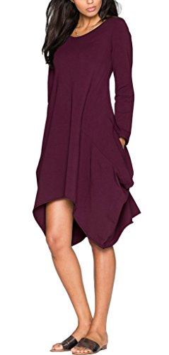 Eudolah Damen Cause Kleid Kleid Partykleid Abendkleid Streetwear lang Armel mit Tasche Purpur