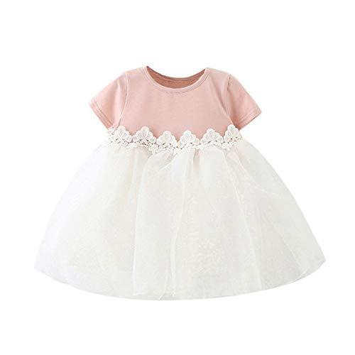 JUTOO Cute Bow Baby Girl Kurzarm Prinzessin Brautjungfer Pageant Geburtstag Party Hochzeitskleid (Rosa100)