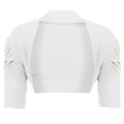 RageIt - Mädchen Strickjacke Bolero Rüschenärmel Kurz Baumwolle - 3-4 Jahre, Weiß (Weiße Baumwolle Strickjacke)