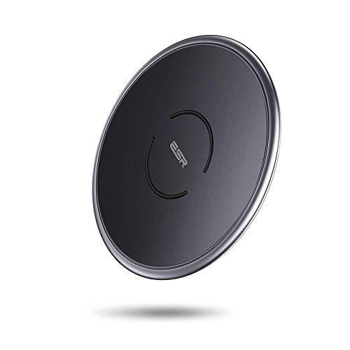 , [10W/7.5W Metallrahmen] Induktions Ladegerät für iPhone XS/XS Max/XR/X/8/8 Plus,Samsung S10/S10+/S10e/S9/S9+/S8/S8+,5W für Huawei P30 Pro,AirPods,Schwarz. ()
