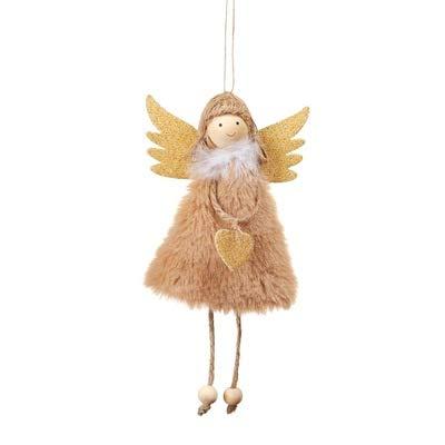 AQZMEA Weihnachtsdekorationen Anhänger Weihnachten Süße Liebe Plüsch Feder Engel Weihnachtsbaum Kreative Anhänger 17x10cm Khaki Plüsch Liebe Engel Anhänger