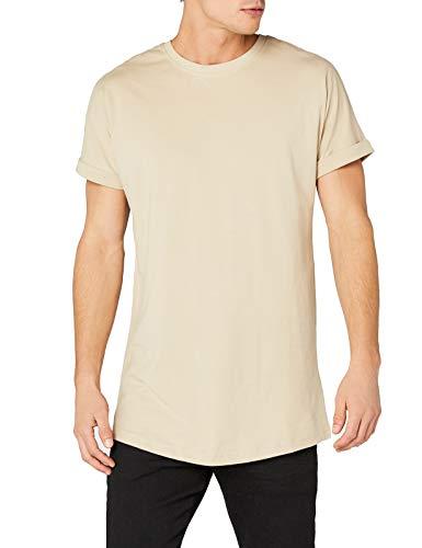 Urban Classics TB1561 Herren T-Shirt Long Shaped Turnup Tee Elfenbein (Sand 208), Medium
