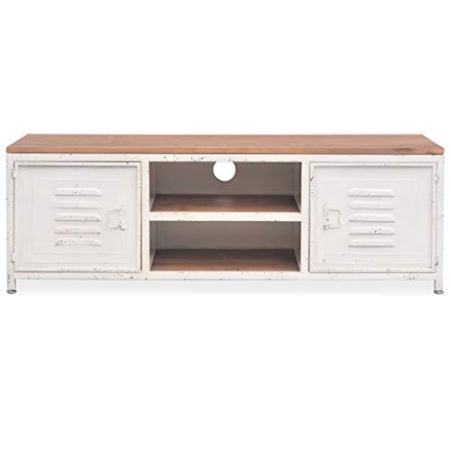 Este elegante mueble para el televisor de estilo indutrial, será un gran aporte decorativo para su dormitorio o salón. El mueble para la tele y equipo HiFi está hecho de acero galvanizado, lo que lo hace casi indestructible y tiene una superficie mac...
