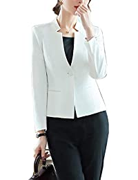 YUNY Womens One Button Work Office Extra Long Elegent Suit Jacket Black L