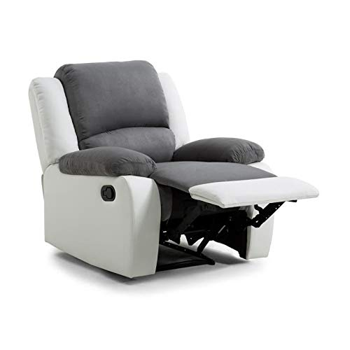 Cuir 1 Usinestreet Microfibre Place Fauteuil Detente Relaxation Grisesimili Blanc eWE2DYH9I